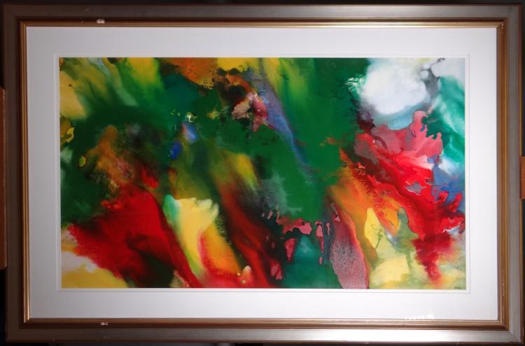 Painting Oil on cardboard  - Composition - signed MIODRAG Dordevic