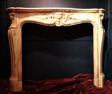 Furniture: Louis XV style marble fireplace 19C