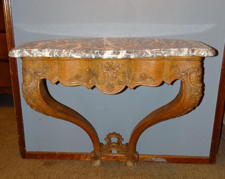 Furniture: rounded corner console Louis XV period  in oak