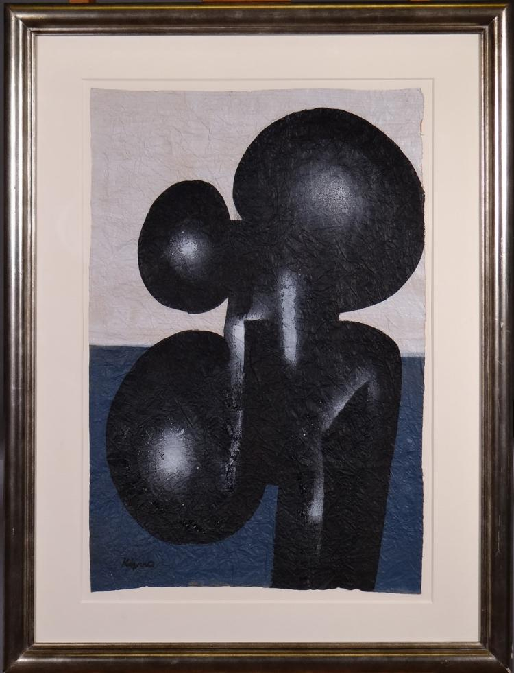 Painting oil on paper - Composition - signed KIJNO Ladislas