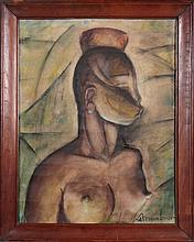 Mixed media painting - African Torso - signed Auguste MAMBOUR