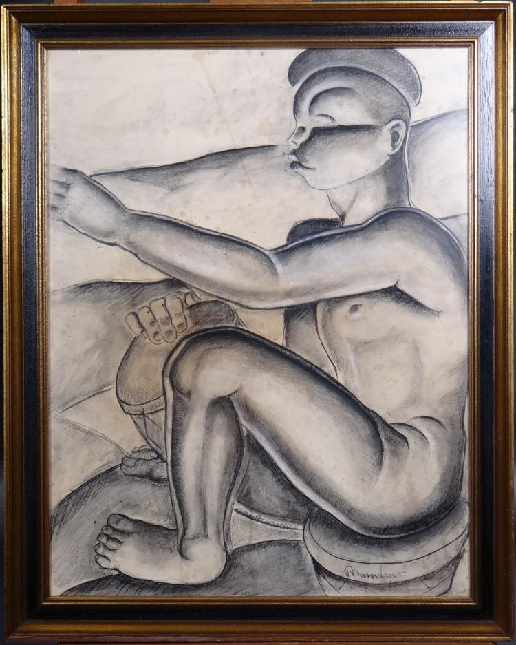 Painting: Charcoal drawing heightened with white chalk - African with a tam tam - signed Auguste MAMBOUR