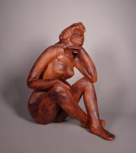 Sculpture Terracotta - Nude woman sitting - signed Aerts Marie-José