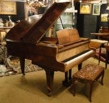 Music: Piano 1/4 queue walnut GUNTHER Brussels circa 1930