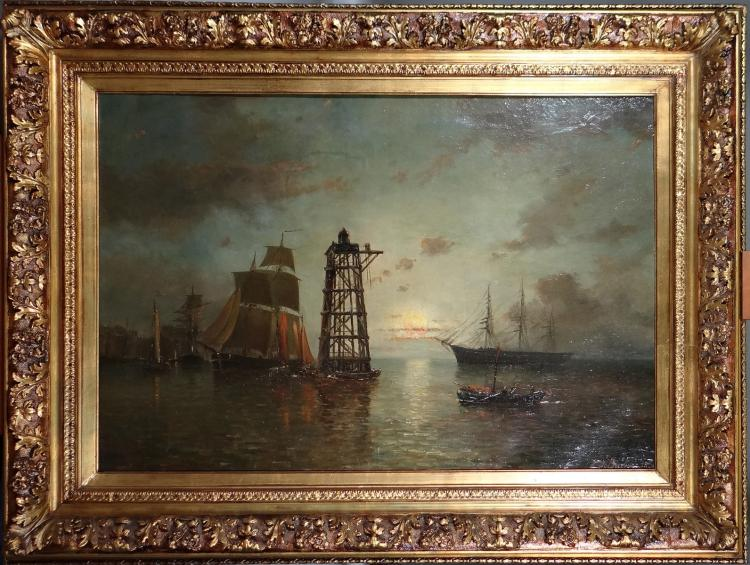 Painting oil on canvas - Harbour View at night - Louis signed OF BURBURE