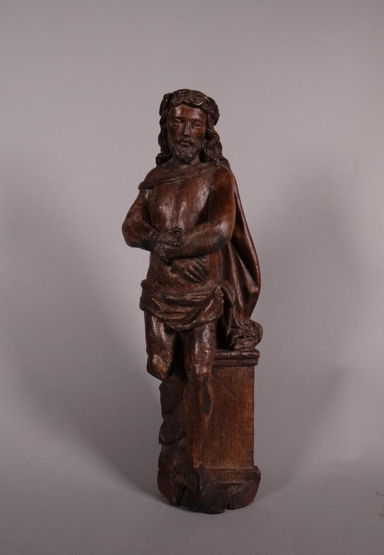 Oak Sculpture - Christ the links - or Ecce homo standing 16C