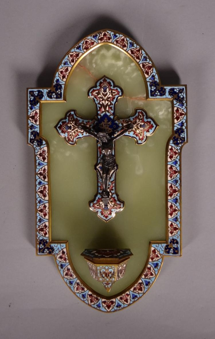object stoup and crucifix in cloisonné champlevé first half 20C