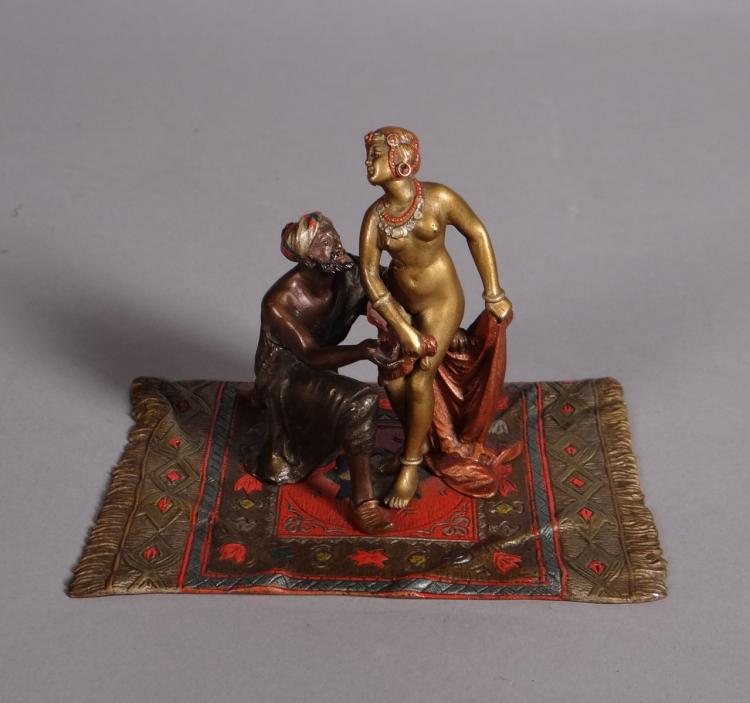 Sculpture: polychrome Vienna Bronze Orientalist couple on carpet