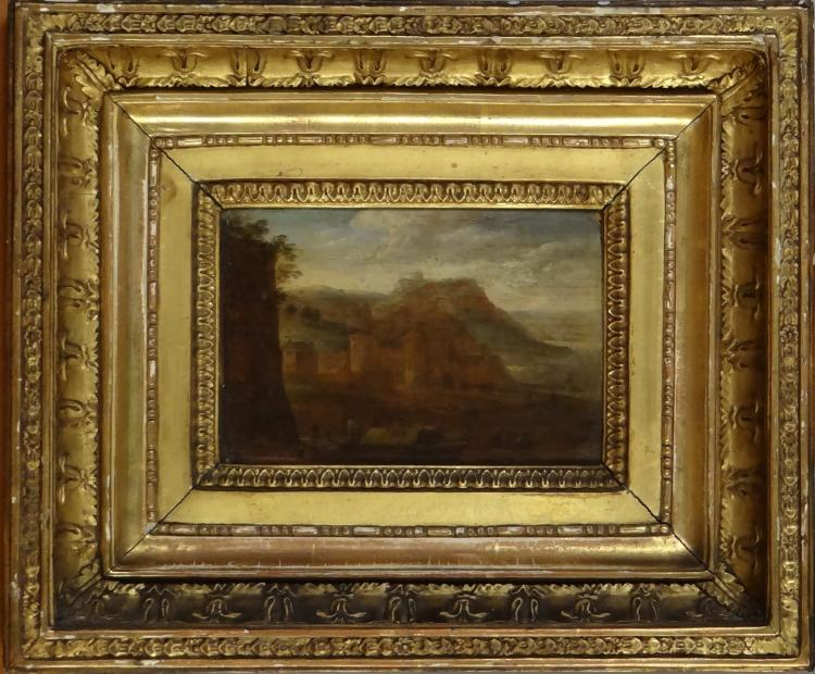 Painting oil on wood (oak) - Landscape with animated fortress - assigned back to the School of Asselijn (C1610. 1652)