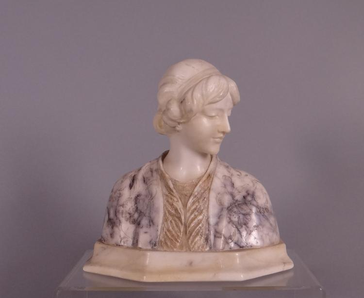 Sculpture: Marble - Bust of young woman - signed Giuseppe BESSI