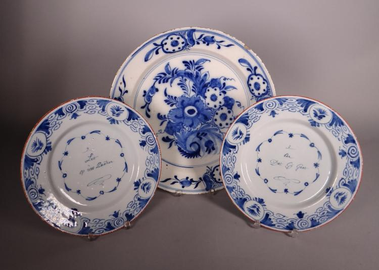 Ceramics: Flatand talking plates in Delft arthenware 18C