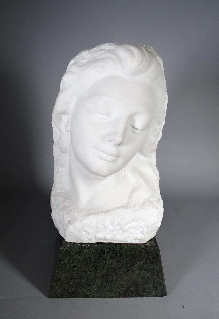 Sculpture: Marble - Bust of young woman - signed Schoolmeesters Jan