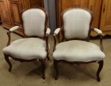 Furniture: Pair of Louis XV armchairs carved back 18C
