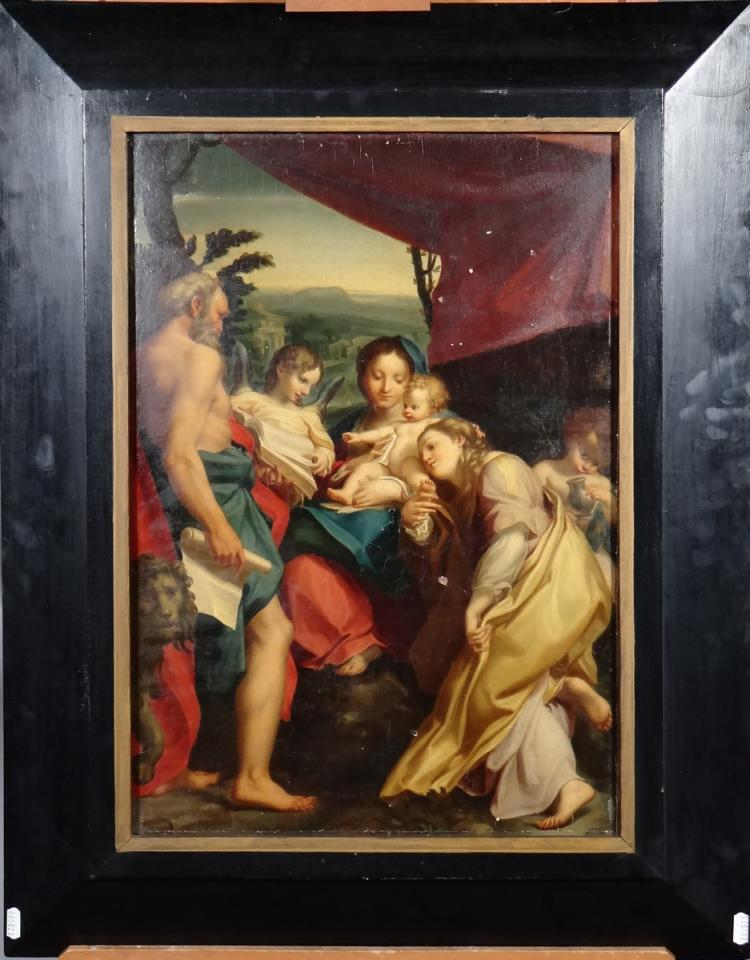 Painting oil on wood walnut - Madonna St Jérome - signed on the back by Giovanni GAIBAZZI