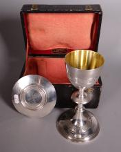 Silverware: chalice and paten in silver