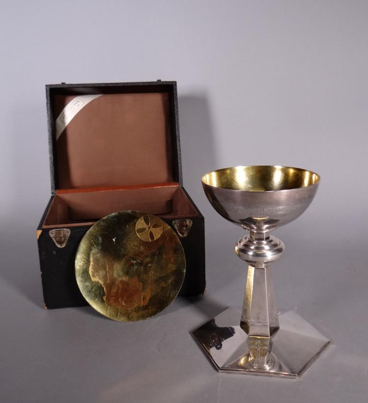Silverware: chalice. paten and spoon in silver and vermeil