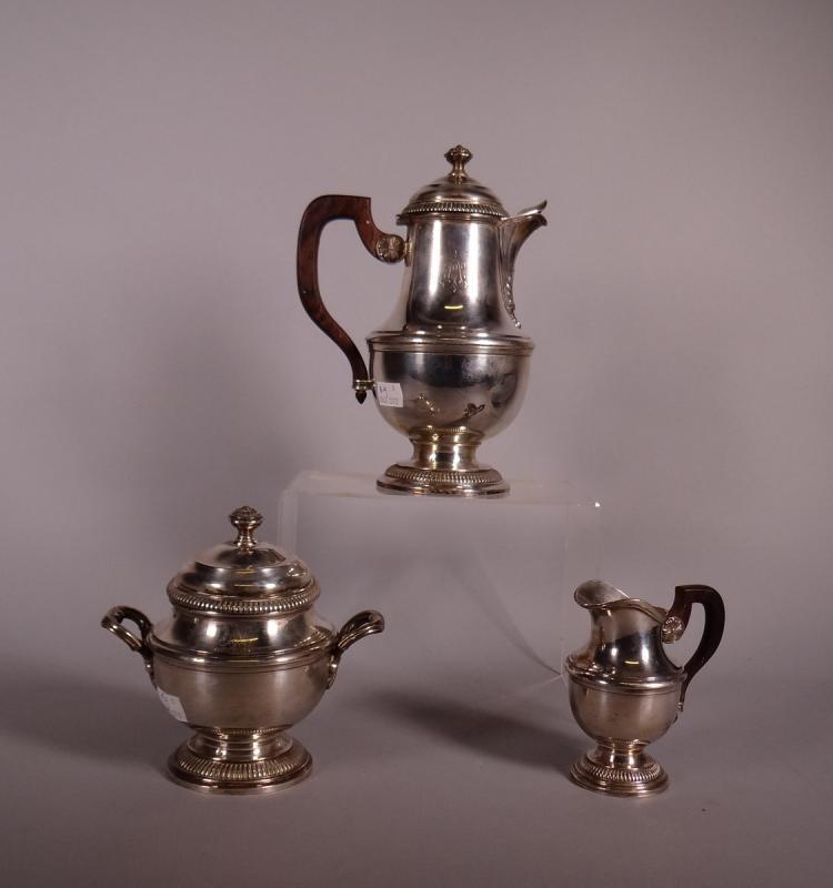 Silverware: Coffee. milk jug. sugar pot in silver