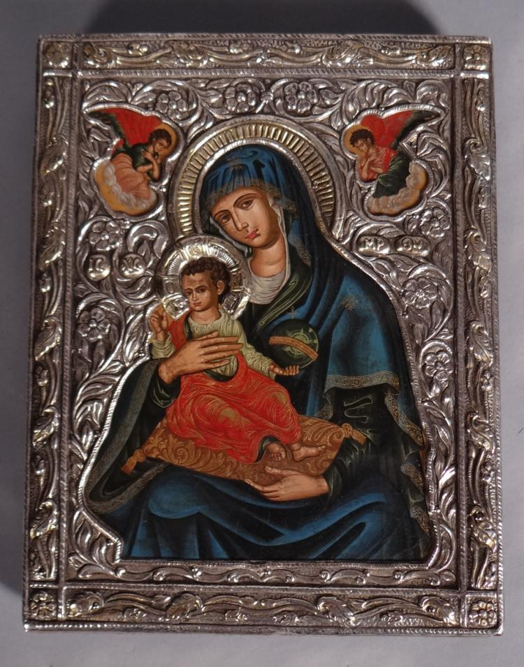 Painting: Greek Icon painted - Virgin and Child - silver riza 20C
