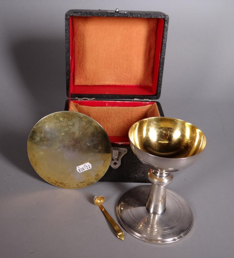 Silverware: chalice. paten. spoon in silver and vermeil