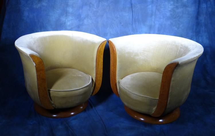 Furniture: Pair of Art Deco armchairs tulip form Directed for the Le Malandre in burl wood