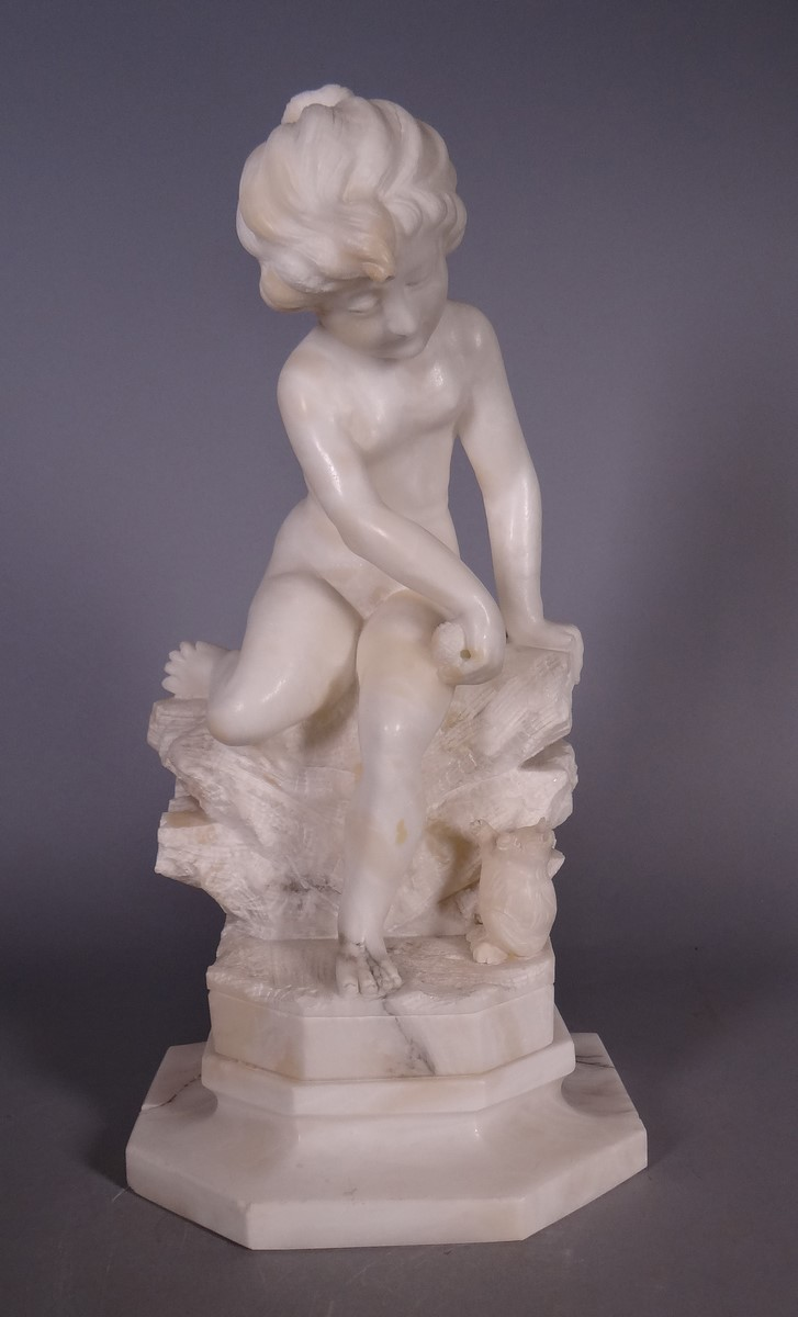 Sculpture: Alabaster - Child sitting - Anonymous