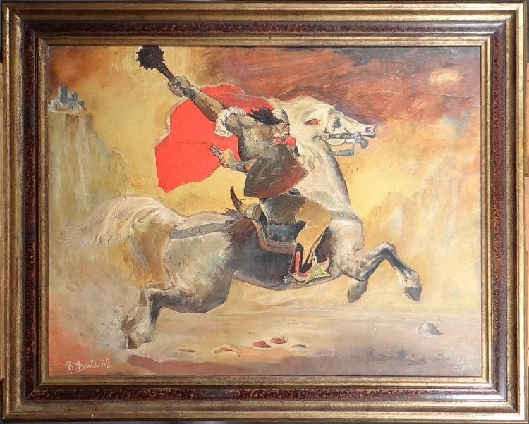 Painting oil on panel - Warrior on horseback - signed DULE Bardhyl