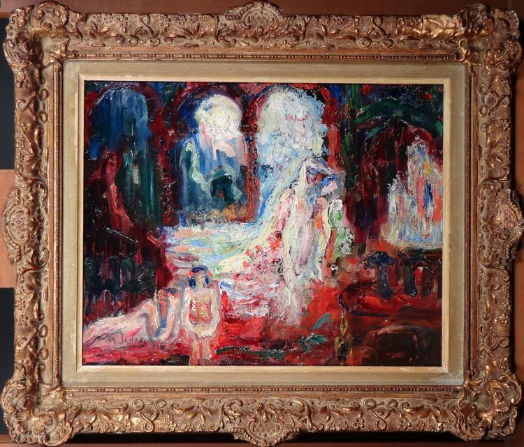 Painting oil on cardboard - Orientalist scene - signed JAMAR Armand