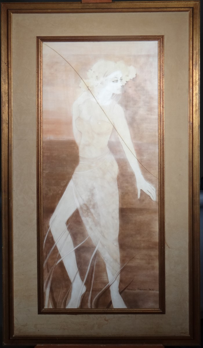 Painting: Pastel - Young woman in transparent dress - signed