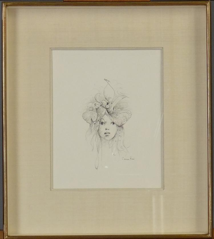 Painting: Drawing - Young girl with a pen - signed Leonor FINI