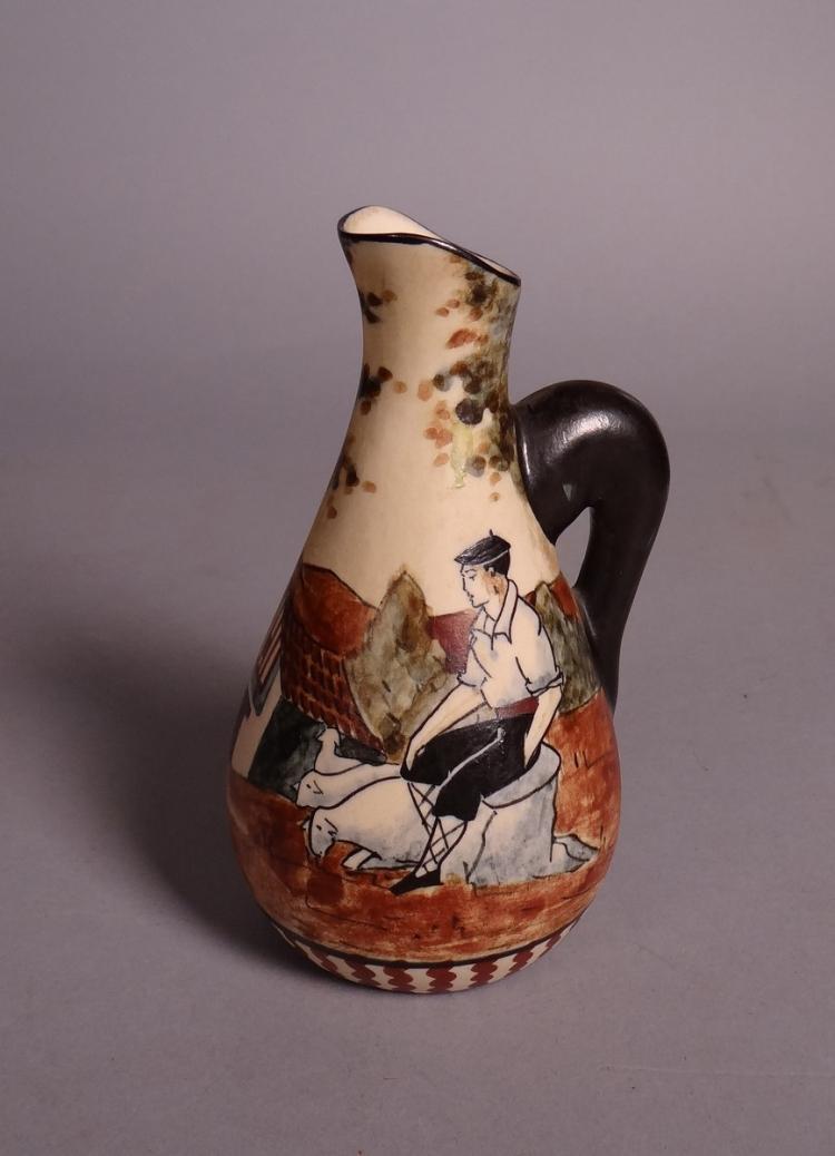 Ceramics: stoneware jug in Ciboure signed Leiceaga