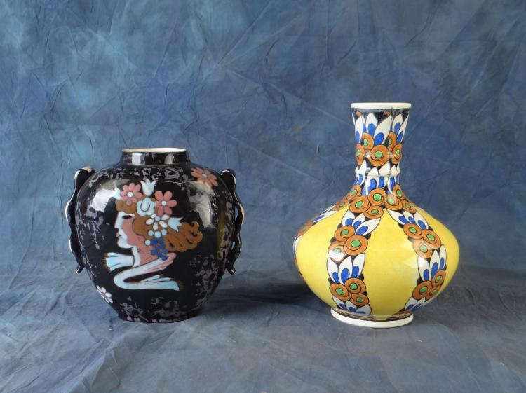 Ceramic Vase in Boch earthenware CT for CATTEAU Charles