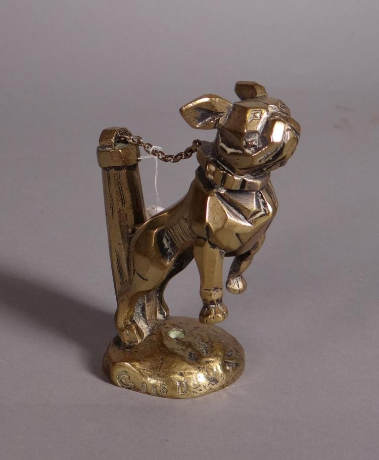 Sculpture: Mascot / radiator cap in gilded bronze - Bulldog in the chain - monogrammed