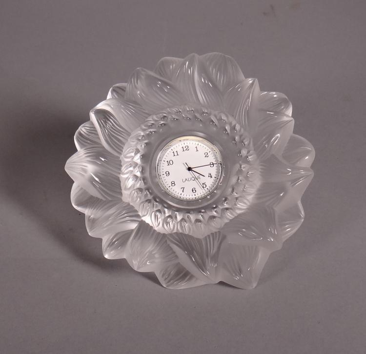 Glassware: Sun Clock molded pressed glass signed Lalique