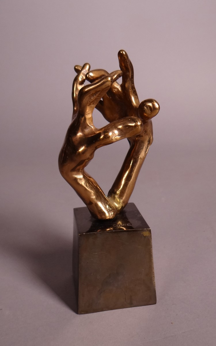 Sculpture: Bronze gilt - Hands game - signed Yves LOHE