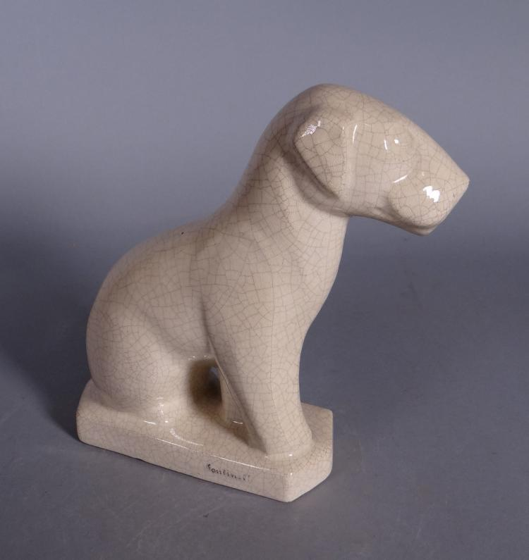 Ceramics: Subject zoomorphic dog fox terrier in cracked earthenware marked L. FONTINELLE Circa 1930