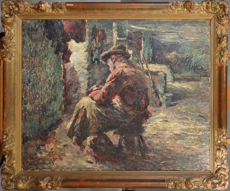 Painting oil on canvas - Man sitting - signed Hubert II van den Bossche