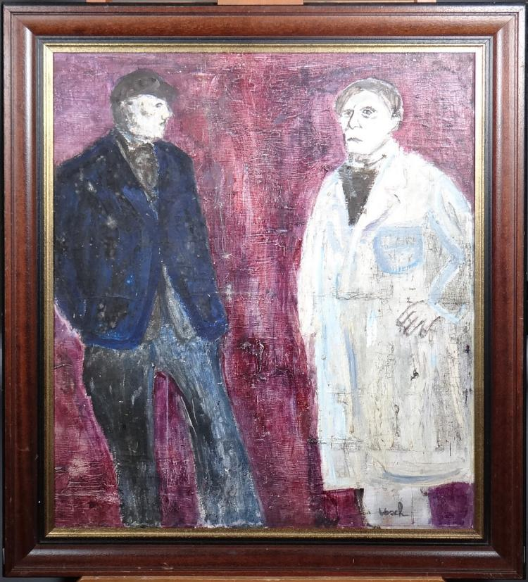 Painting oil on canvas - 2 men standing - signed Marc Vosch
