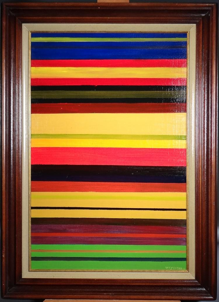 Painting oil on canvas - line Composition - signed Alain WEYTSMAN