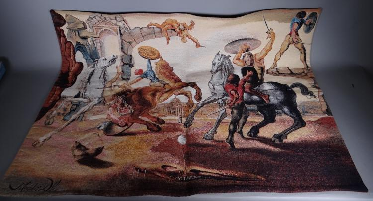 jacquard woven tapestry - Battle around a Pissentit - of Salvador DALI