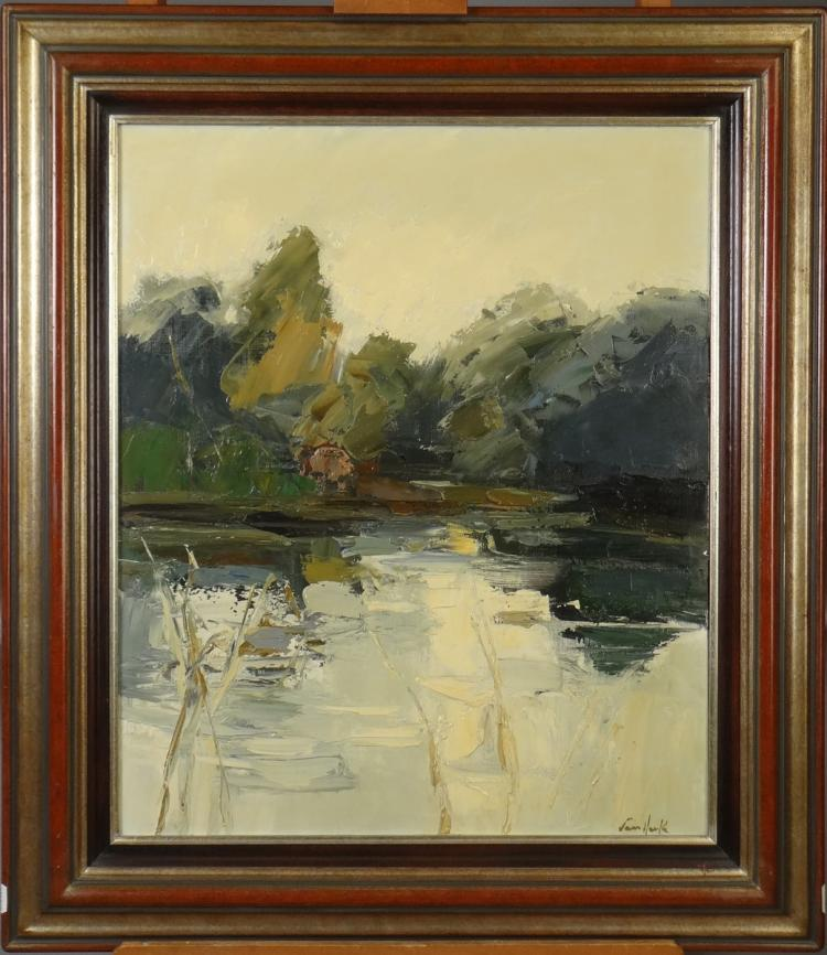 Painting oil on canvas - Pond Edge - signed Arthur Van Hecke
