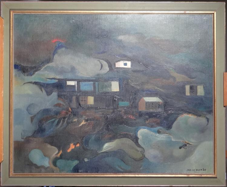 Painting oil on canvas - Village - signed DE BUCK Jan