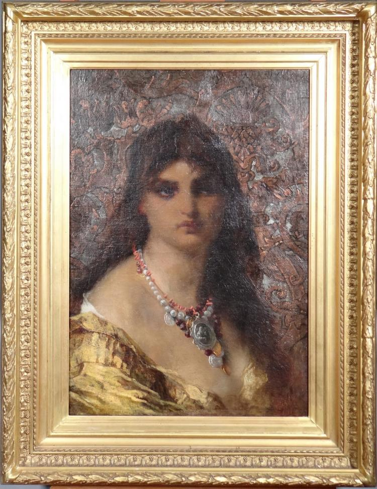 Painting oil on canvas - Portrait of lady with necklace - monogrammed AB for BOURLARD Antoine Joseph