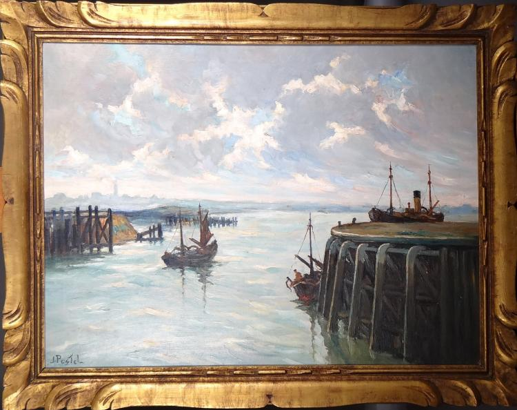 Painting oil on canvas - Seascape - signed Jules POSTEL