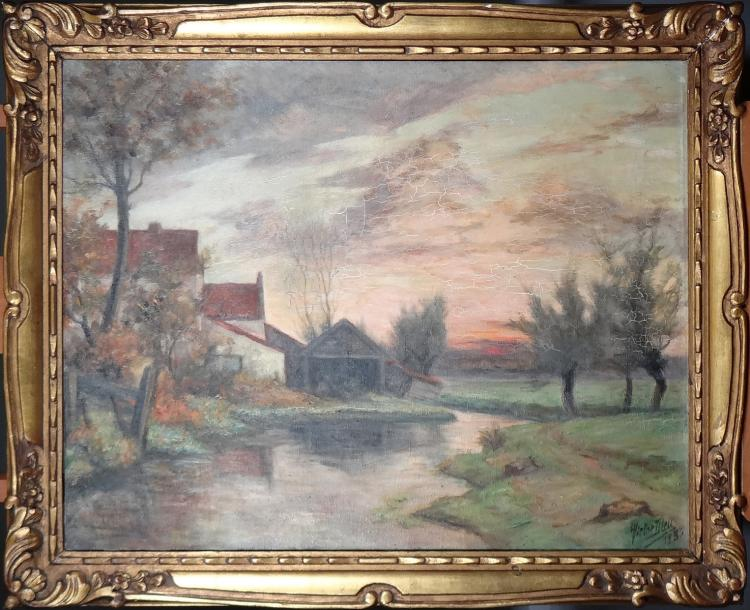 Painting oil on canvas - La Trouille - signed DIEU Victor