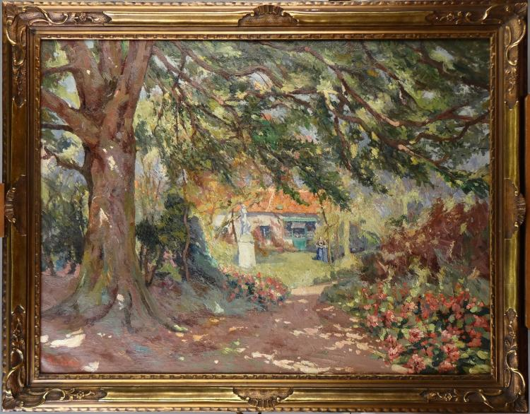 Painting oil on canvas - Garden Zealand - signed LEDUC Paul