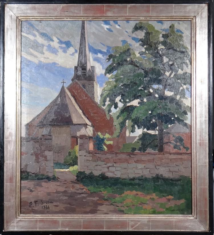 Painting oil on canvas - Landscape Church - signed TONDREAU Paul