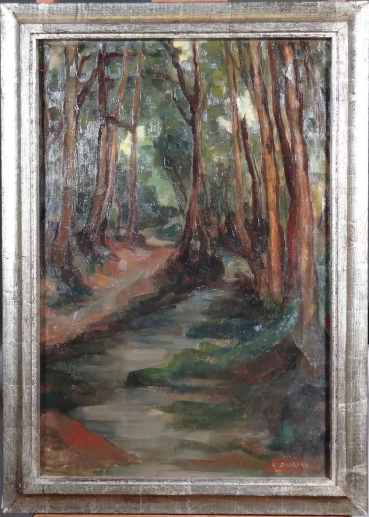 Painting oil on canvas - Undergrowth - signed DURIAU Alfred