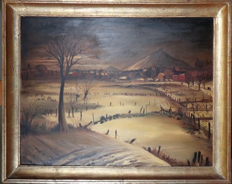 Painting oil on canvas - Terril in Hyon in the snow - signed Marcel GILLIS