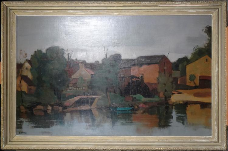 Painting oil on panel - Water mill - signed Arsène DETRY