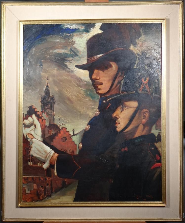Painting oil on panel - Civic Guards / Self-portrait and portrait of Fernand Gommaerts - signed Marcel GILLIS